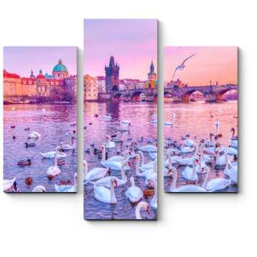 Модульная картина Лебеди на Влтаве, Прага