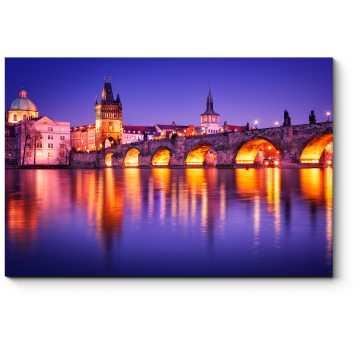 Модульная картина Карлов мост в отражении вод Влтавы, Прага
