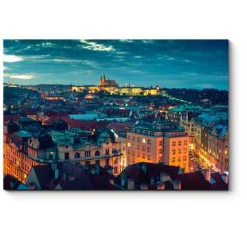 Модульная картина Панорама ночной Праги