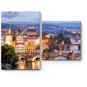 Модульная картина Прага с высоты птичьего полета