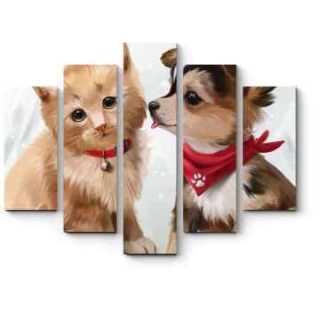 Модульная картина Котенок и щенок акварелью