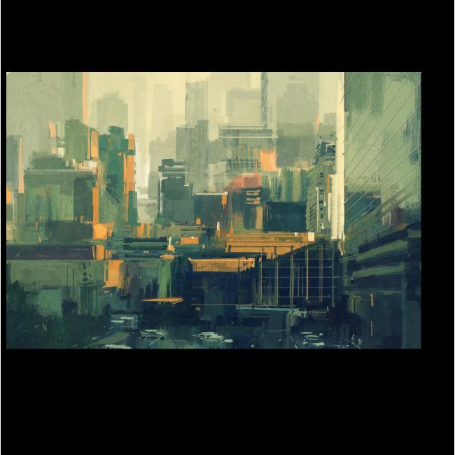 Модульная картина Городские небоскребы на закате