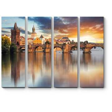 Модульная картина Карлов мост и спокойная Влтава, Прага