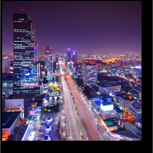 Модульная картина Небоскребы ночного Сеула