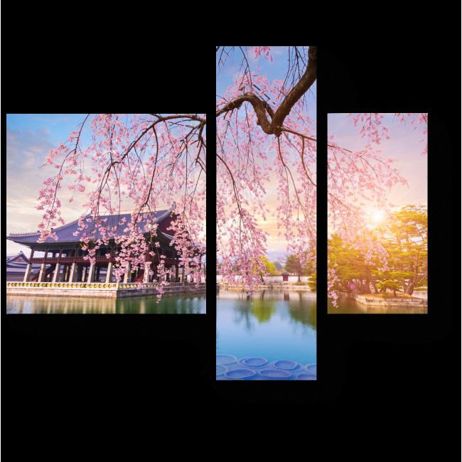 Модульная картина Цветение весны в Кёнбоккун, Сеул