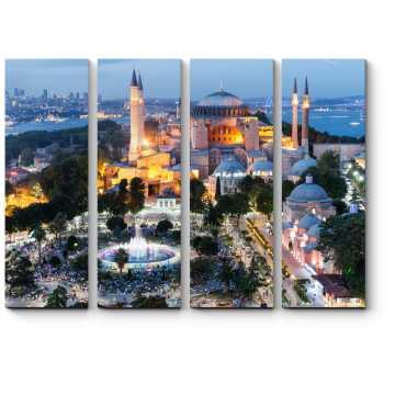 Модульная картина Собор Святой Софии в  вечерних огнях, Стамбул