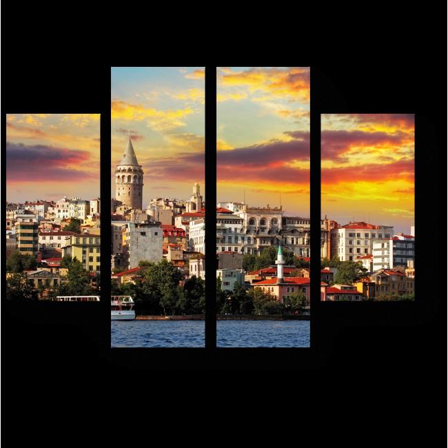 Модульная картина Древний Стамбул в лучах солнца