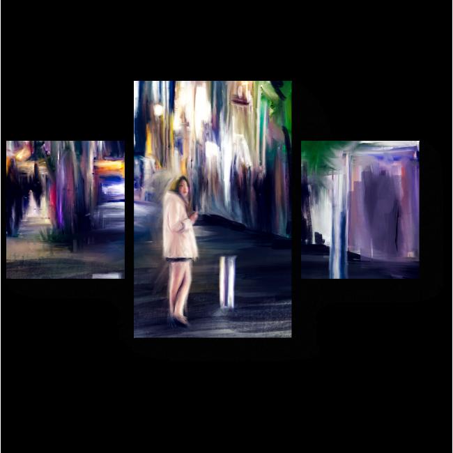 Модульная картина Девушка на улице вечернего Токио