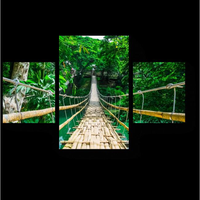 Модульная картина Бамбуковый пешеходный подвесной мост через реку в тропическом лесу