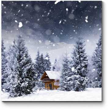 Сказочный дом в зимнем лесу