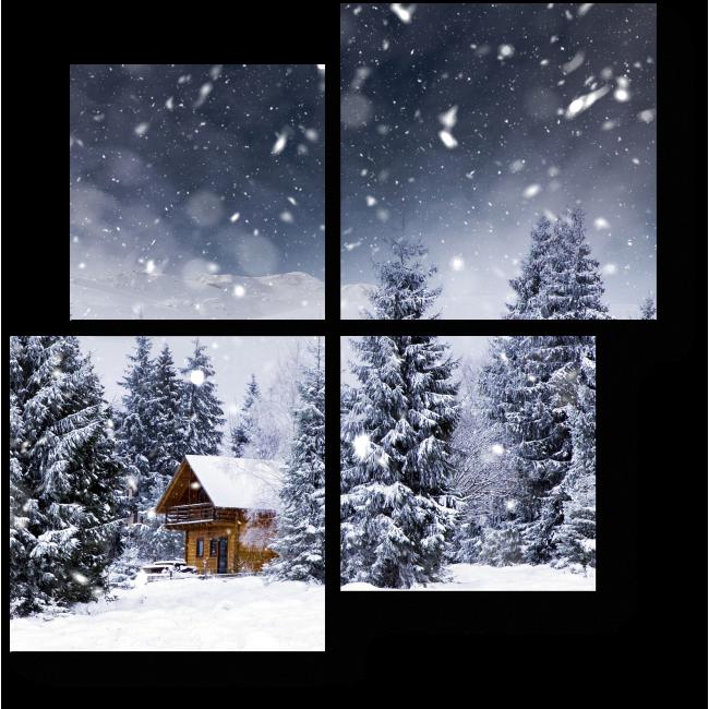 Модульная картина Сказочный дом в зимнем лесу