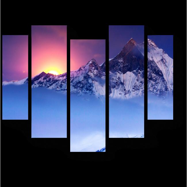 Модульная картина Последние лучи солнца в горах