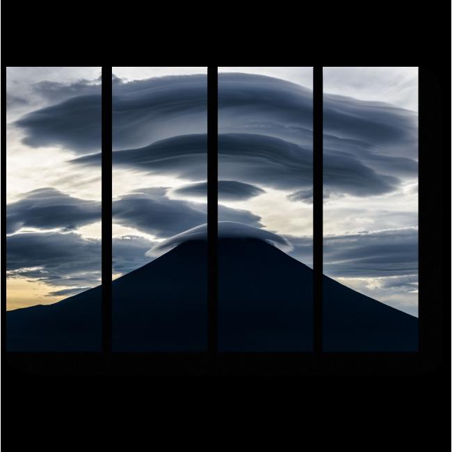 Модульная картина Линейные облака над горой