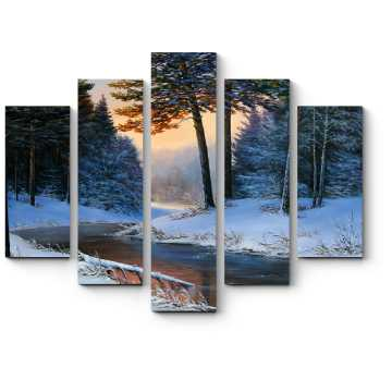 Модульная картина Холодная красота зимнего леса