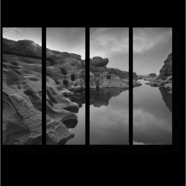 Модульная картина Каньон в черно-белых тонах