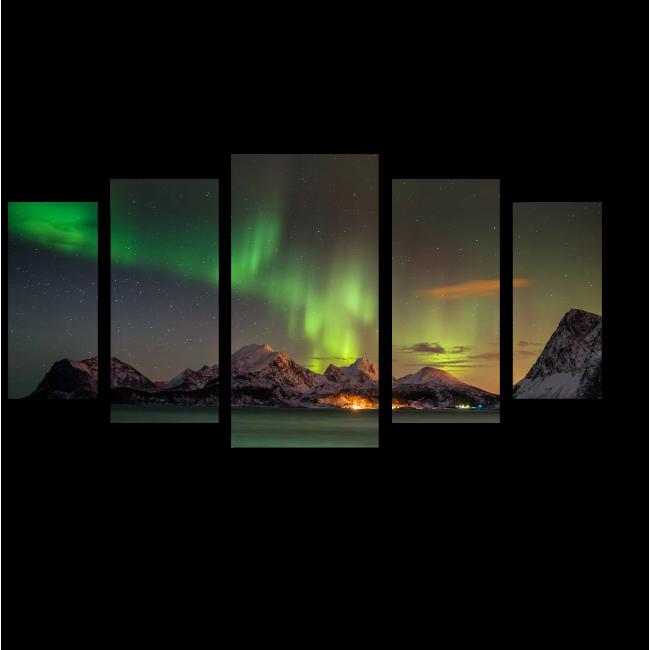 Модульная картина Звезды и северное сияние