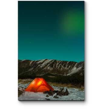 Модульная картина Палатка под северным небом
