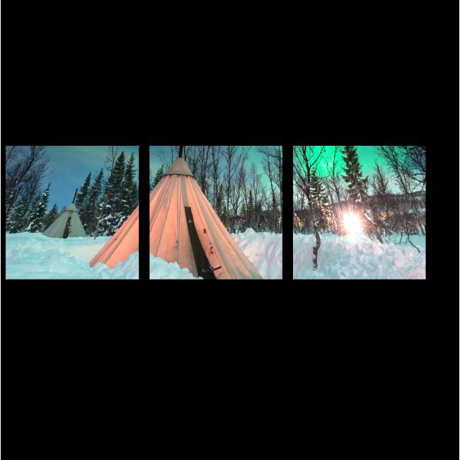 Модульная картина Юрта и северное сияние
