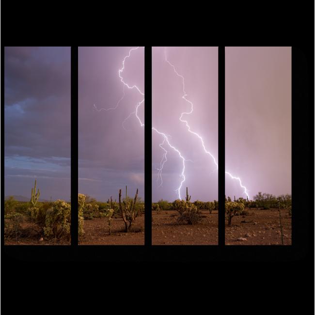 Модульная картина Вспышки молнии в пустыне