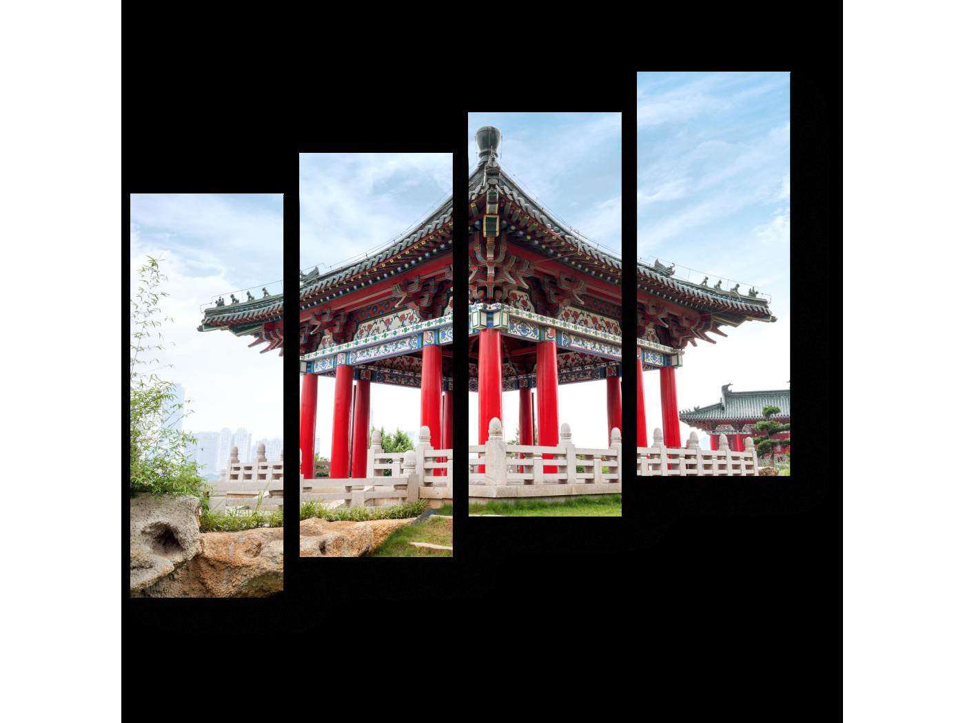 Модульная картина древняя китайская архитектура (80x69) фото