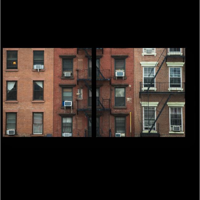 Модульная картина Пожарные лестницы старых жилых домов