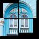 Голубой фасад с лепниной