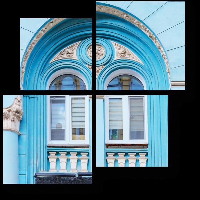 Модульная картина Голубой фасад с лепниной