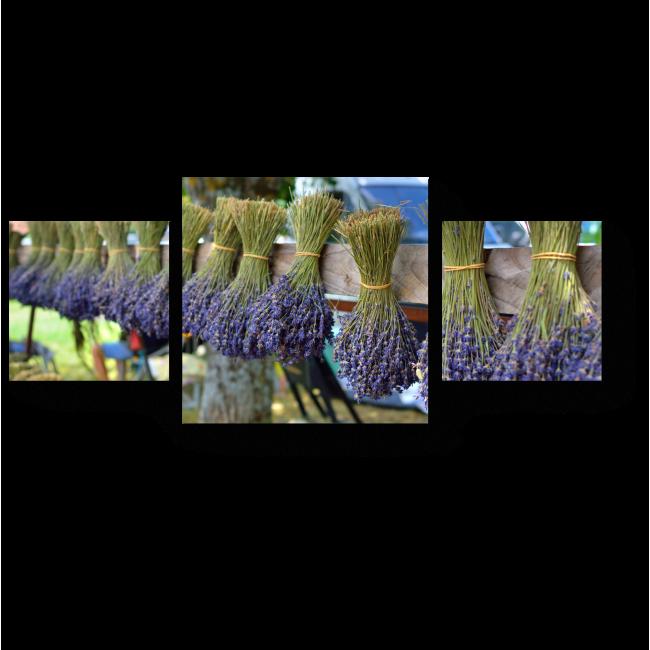 Модульная картина Букеты из лавандовых цветов, Прованс