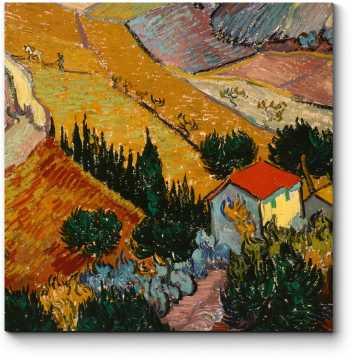 Пейзаж с домом и пахарь, Винсент Ван Гог