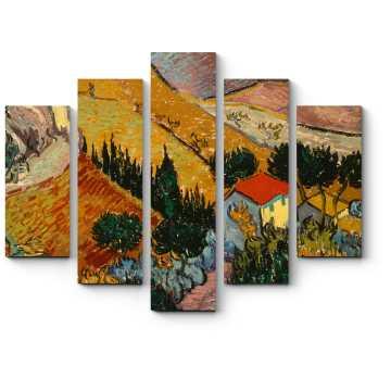 Модульная картина Пейзаж с домом и пахарь, Винсент Ван Гог