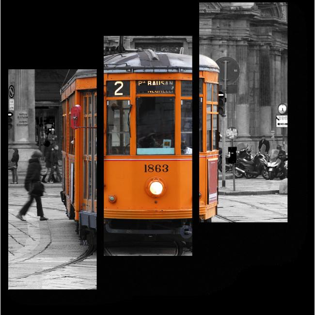 Модульная картина Оранжевый трамвай на сером городском фоне