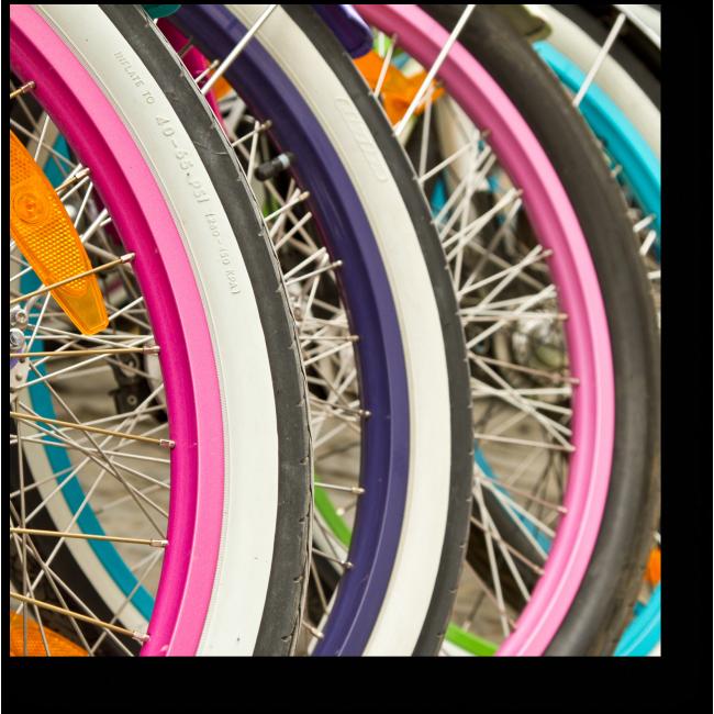 Модульная картина Яркие колеса велосипедов