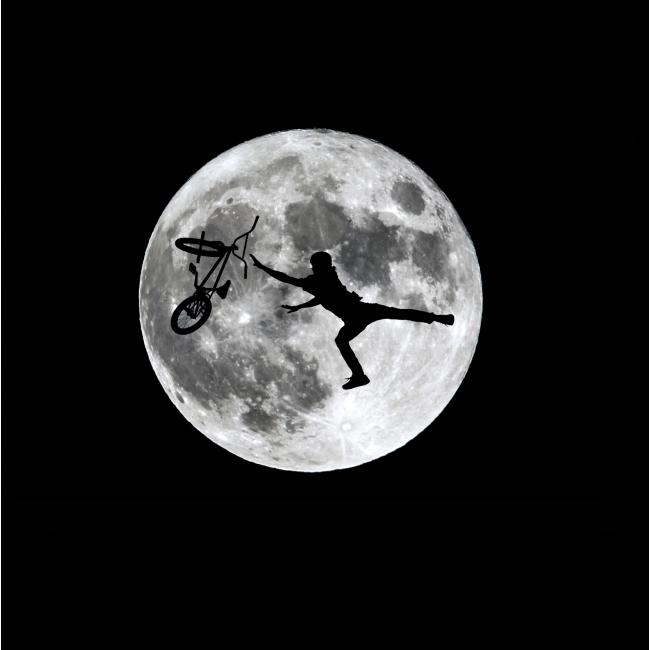 Модульная картина Силуэт байкера на фоне луны