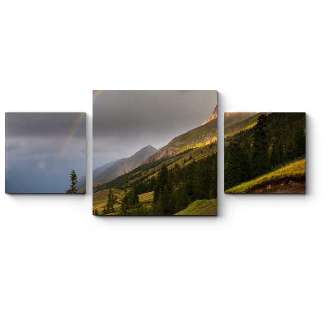 Модульная картина Горы в сиянии радуги