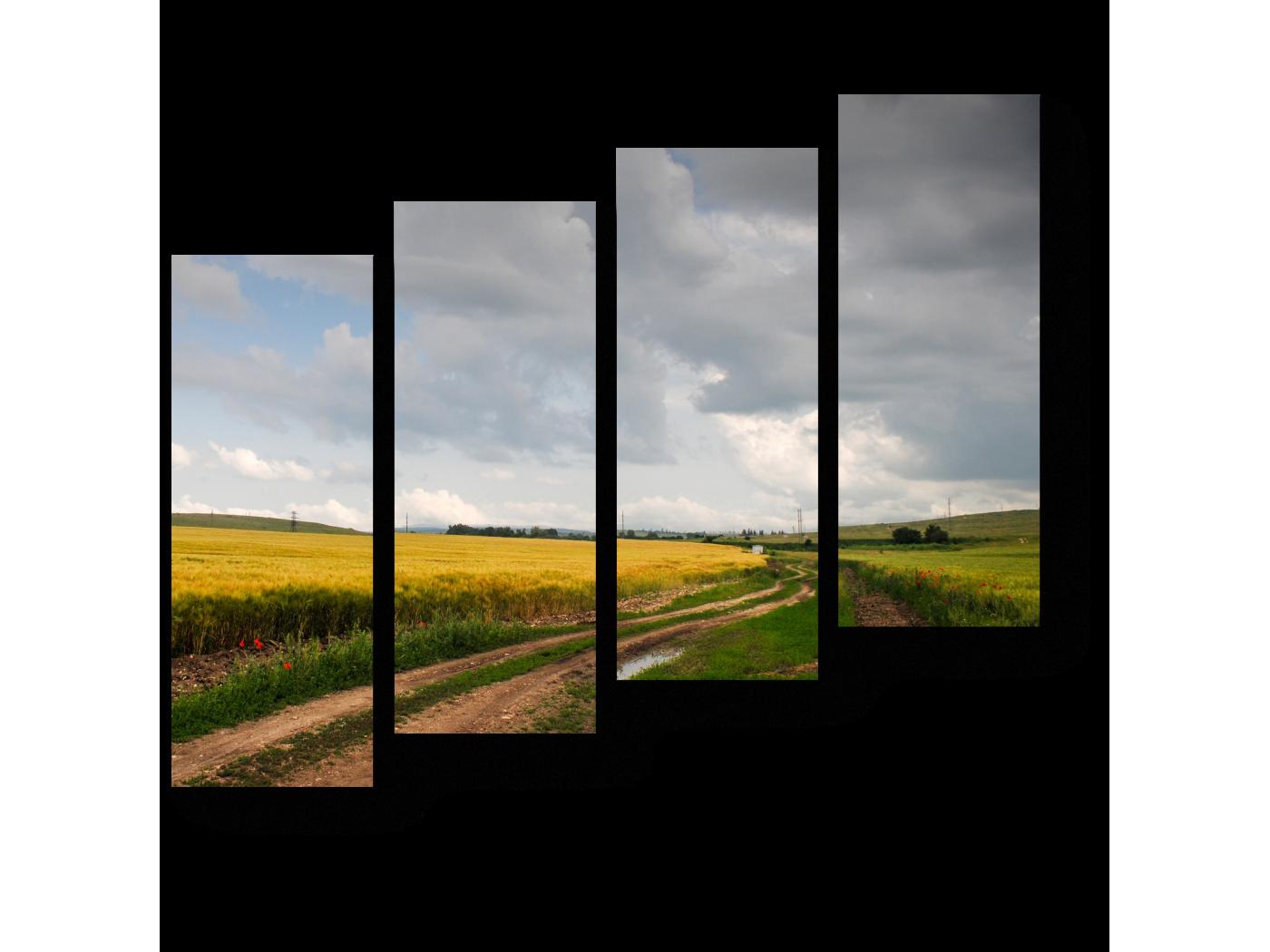 Модульная картина Убегающие вдаль поля (80x69) фото