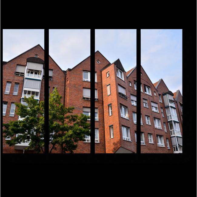 Модульная картина Европейская строительная деревня