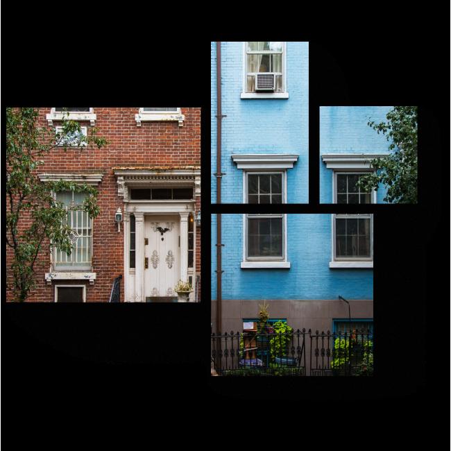 Модульная картина Старые многоквартирные дома
