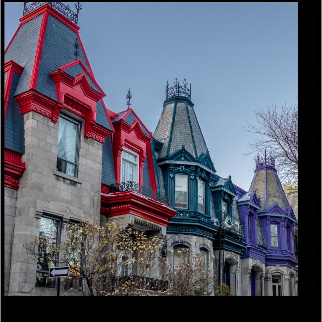 Модульная картина Красочные Викторианские дома в Канаде