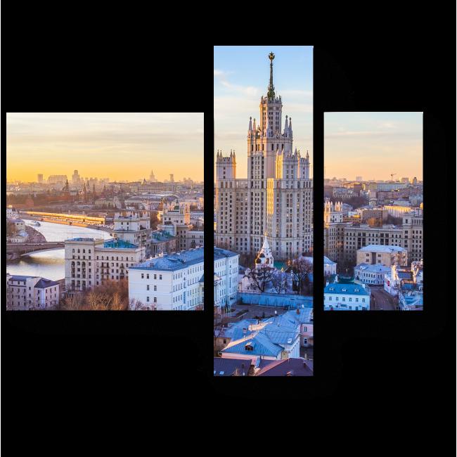 Модульная картина Закат над МГУ