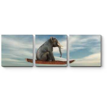 Модульная картина Слоны тоже любят летать