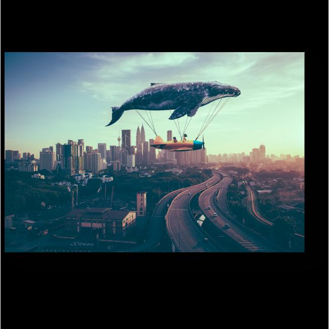 Модульная картина Кит, который любит плавать в небе
