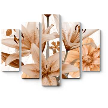 Пастельно-оранжевые лилии