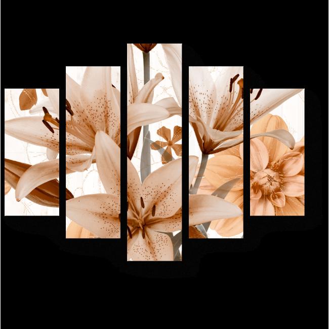Модульная картина Пастельно-оранжевые лилии