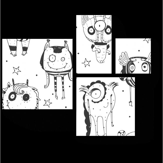 Модульная картина Дружелюбные чудики