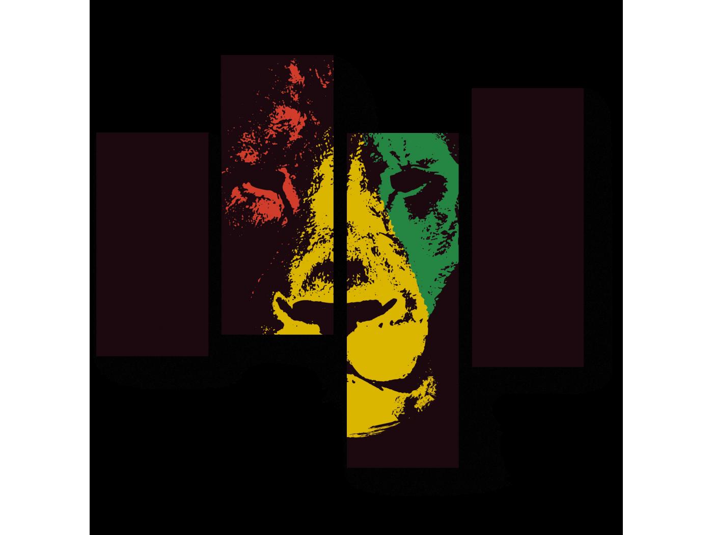 Модульная картина Африканский лев (64x60) фото