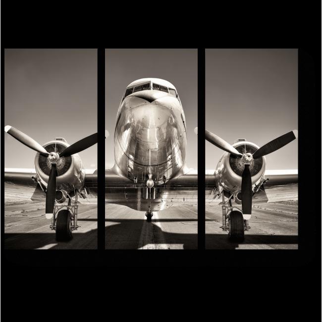 Модульная картина Старинный самолета на взлетно-посадочной полосе