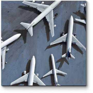 Модульная картина Аэрофотосъемка нескольких самолетов