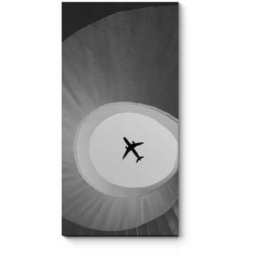 Модульная картина Самолет летит над лестницей на мосту