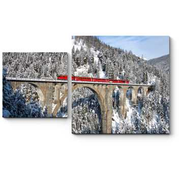 Модульная картина Горный красный поезд
