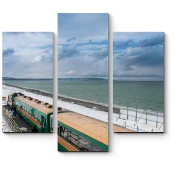 Модульная картина Остановка пассажирского поезда